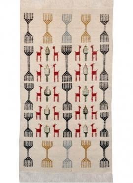 Tapete berbere Tapete Kilim El Batan 60x110 Cinza/Preto/Vermelho (Tecidos à mão, Lã) Tapete tunisiano kilim, estilo marroquino.