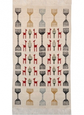 Berber tapijt Tapijt Kilim El Batan 60x110 Grijs/Zwart/Rood (Handgeweven, Wol, Tunesië) Tunesisch kilimdeken, Marokkaanse stijl.