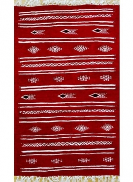 Alfombra bereber Alfombra Kilim Rekka 60x100 Rojo/Blanco (Hecho a mano, Lana, Túnez) Alfombra kilim tunecina, estilo marroquí. A