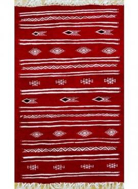 Berber Teppich Teppich Kelim Rekka 60x100 Rot/Weiß (Handgewebt, Wolle, Tunesien) Tunesischer Kelim-Teppich im marokkanischen Sti