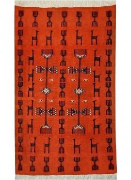 Berber carpet Rug Kilim Azumar 95x170 Orange/Black (Handmade, Wool, Tunisia) Tunisian Rug Kilim style Moroccan rug. Rectangular