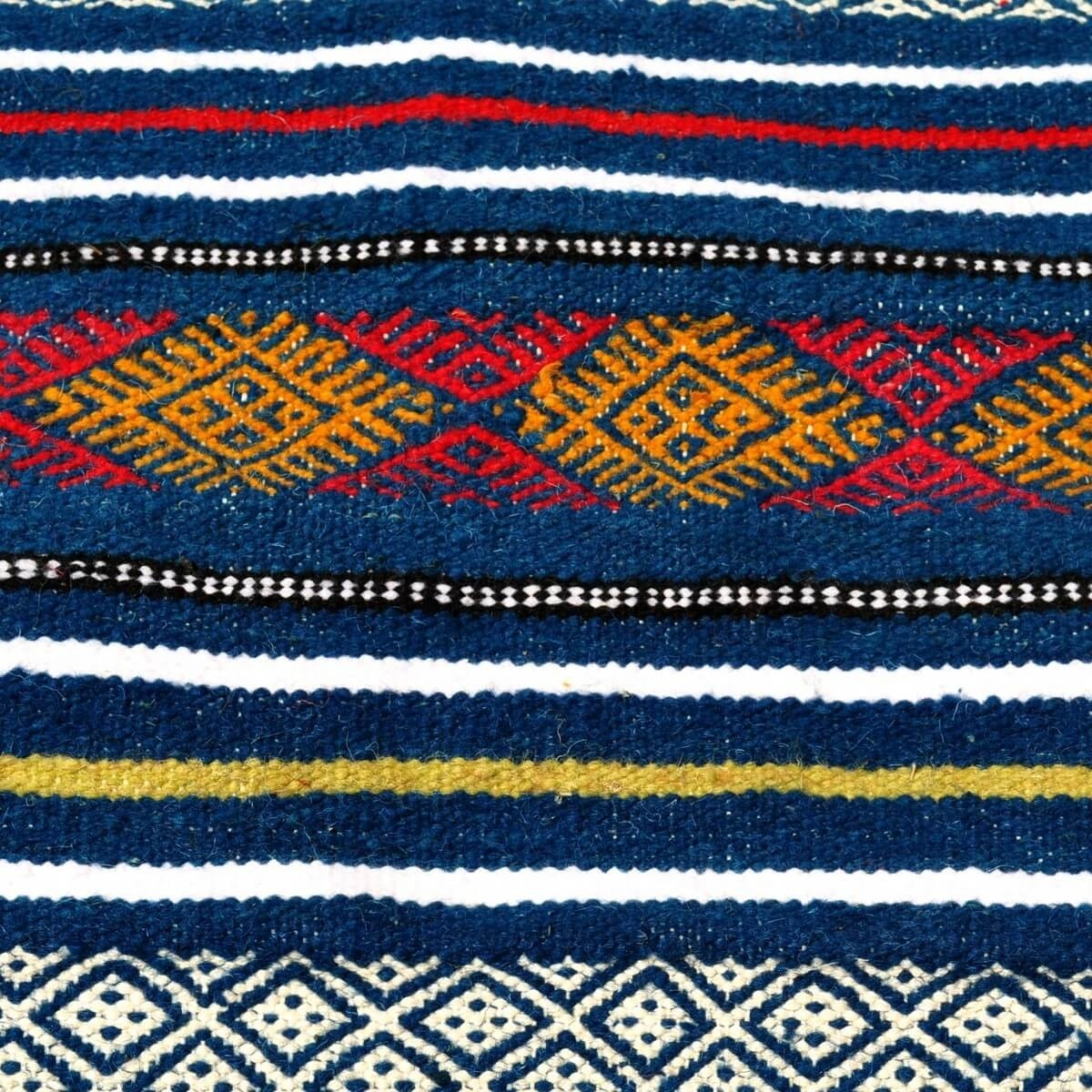 Berber carpet Rug Kilim Bargou 100x190 Blue/Yellow/Red (Handmade, Wool) Tunisian Rug Kilim style Moroccan rug. Rectangular carpe