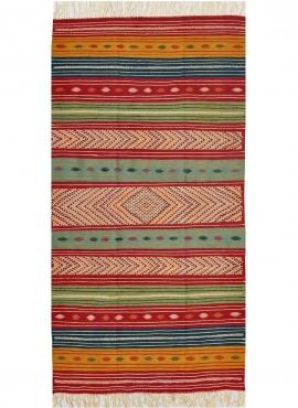 Berber carpet Rug Kilim Matmata 110x210 Multicolour (Handmade, Wool, Tunisia) Tunisian Rug Kilim style Moroccan rug. Rectangular