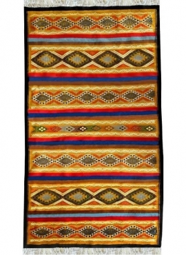 Tapis berbère Tapis Kilim Chahloul 100x180 Jaune/Multicolore (Tissé main, Laine) Tapis kilim tunisien style tapis marocain. Tapi