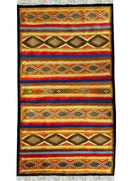 Berber Teppich Teppich Kelim Chahloul 100x180 Gelb/Mehrfarben (Handgewebt, Wolle) Tunesischer Kelim-Teppich im marokkanischen St