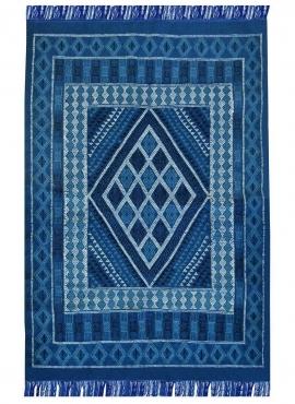 Alfombra bereber Alfombra Margoum Nidhal 120x180 Azul/Blanco (Hecho a mano, Lana, Túnez) Alfombra margoum tunecina de la ciudad