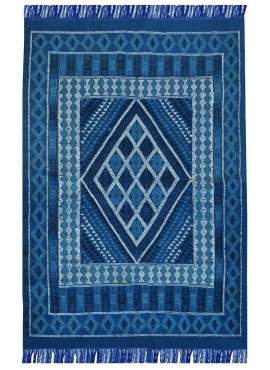 Berber carpet Rug Margoum Nidhal 120x180 Blue/White (Handmade, Wool, Tunisia) Tunisian margoum rug from the city of Kairouan. Re