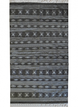 Berber Teppich Teppich Kelim Houria 110x200 Grau (Handgewebt, Wolle, Tunesien) Tunesischer Kelim-Teppich im marokkanischen Stil.