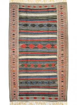tappeto berbero Tappeto Kilim Tamaghza 125x205 Grigio/Rosso/Blu (Fatto a mano, Lana) Tappeto kilim tunisino, in stile marocchino