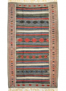 Berber Teppich Teppich Kelim Tamaghza 125x205  Grau/Rot/Blau (Handgewebt, Wolle) Tunesischer Kelim-Teppich im marokkanischen Sti