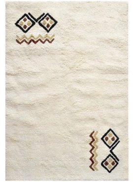 Tapis berbère Tapis Laine Blanc Faouar 120x190 (Noué main, unique, Tunisie) Tapis berbère haute laine blanc tunisien style tapis