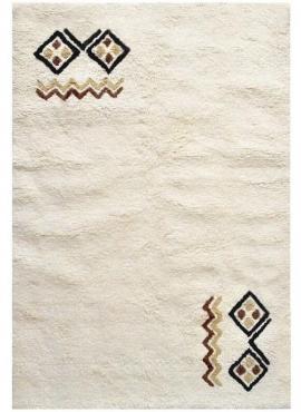 Berber Teppich Teppich Wolle Weiß Faouar 120x190 (Handgefertigt, Tunesien) Tunesischer Berber-Teppich aus weißer Wolle, hohes Ha