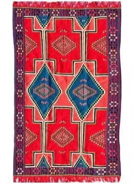 Tapete berbere Tapete Kilim El Alia 130x230 Vermelho/Azul (Tecidos à mão, Lã, Tunísia) Tapete Kilim tunisino da cidade de Kairou