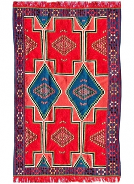 Berber Teppich Teppich Kelim El Alia 130x230 Rot/Blau (Handgewebt, Wolle, Tunesien) Tunesischer Kilim-Teppich aus der Stadt Kair
