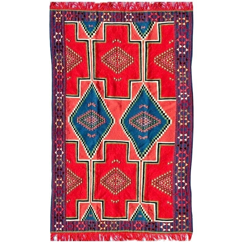 Berber carpet Rug Kilim El Alia 130x230 Red/Blue (Handmade, Wool, Tunisia) Tunisian Kilim rug from the city of Kairouan. Rectang