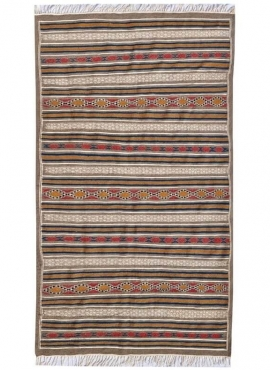Berber carpet Rug Kilim El Bey 145x255 Grey/Red/Blue/Yellow (Handmade, Wool) Tunisian Rug Kilim style Moroccan rug. Rectangular