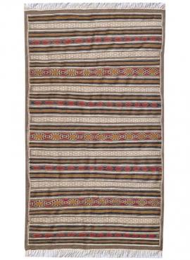 Berber Teppich Teppich Kelim El Bey 145x255  Grau/Rot/Blau/Gelb (Handgewebt, Wolle) Tunesischer Kelim-Teppich im marokkanischen