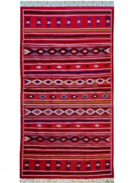 Berber tapijt Tapijt Kilim Soumoud 137x240 Rood/Jeel/Blauw (Handgeweven, Wol, Tunesië) Tunesisch kilimdeken, Marokkaanse stijl.