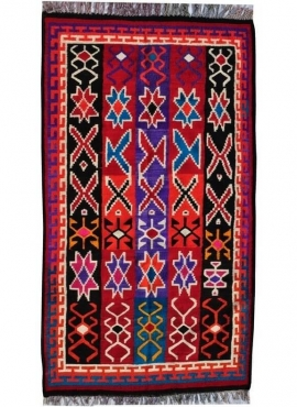 Berber Teppich Großer Teppich Kelim Sama 135x240 Mehrfarben (Handgewebt, Wolle, Tunesien) Tunesischer Kelim-Teppich im marokkani