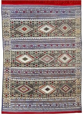 Tapis berbère Grand Tapis Hanbel Taza 170x235 Bleu/Rouge (Tissé main, Maroc)Grand Tapis hanbel marocain fait main en laine et so