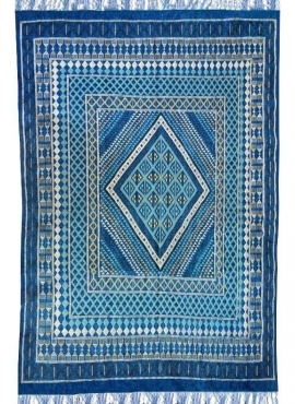 Alfombra bereber Alfombra grande Margoum Zaytouna 200x290 Azul (Hecho a mano, Lana, Túnez) Alfombra margoum tunecina de la ciuda