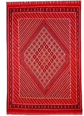 Tapis berbère Grand Tapis Margoum Souma 195x305 Rouge (Fait main, Laine, Tunisie) Tapis margoum tunisien de la ville de Kairouan