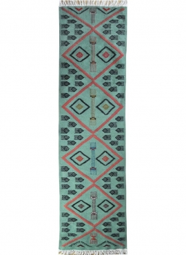 Berber tapijt Tapijt Kilim lang Aouled 60x215 Blauw (Handgeweven, Wol, Tunesië) Tunesisch kilimdeken, Marokkaanse stijl. Rechtho