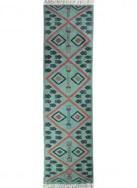 Tapis berbère Tapis Kilim long Aouled 60x215 Bleu (Tissé main, Laine, Tunisie) Tapis kilim tunisien style tapis marocain. Tapis