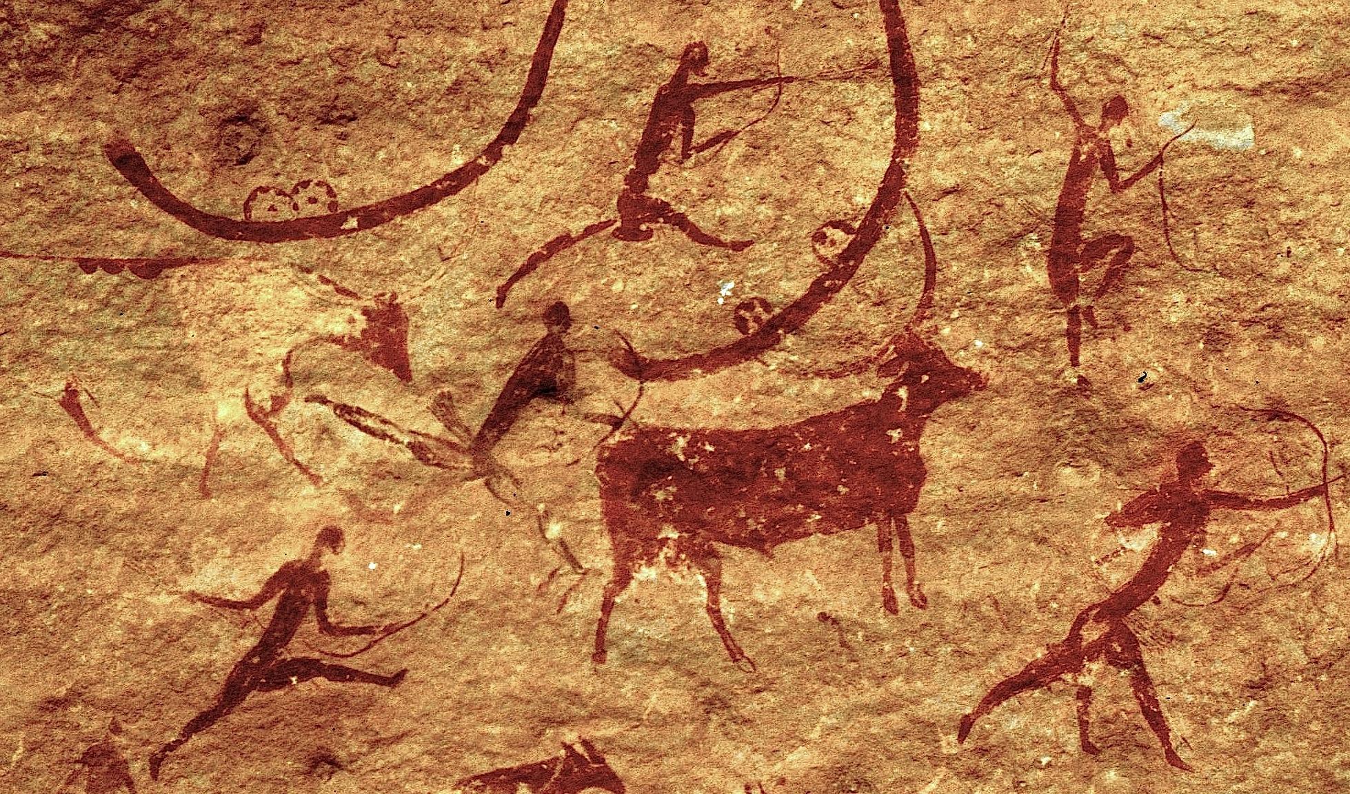 Peintures rupestres berbères du site de Tassili n'Ajjer en Algérie © Gruban