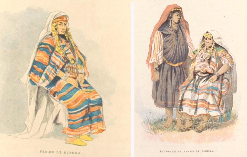 Femmes de Djerba en habit traditionnel - Charles Lallemand, La Tunisie, pays de protectorat français, 1892.