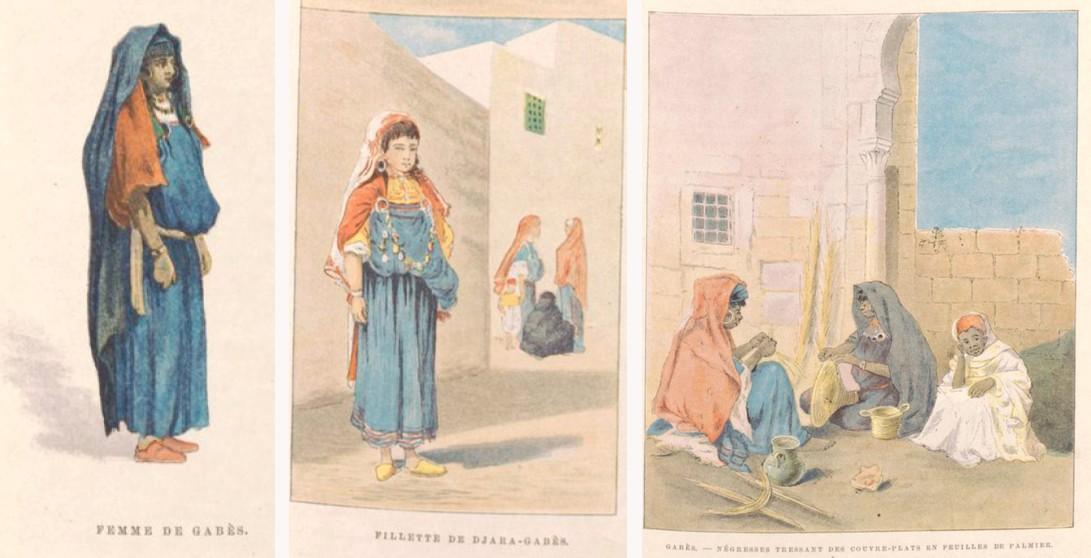 Femmes de Gabès en habit traditionnel  - Charles Lallemand, La Tunisie, pays de protectorat français, 1892.