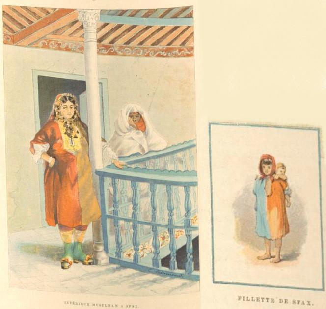 Femmes et fillette de Sfax - Charles Lallemand, La Tunisie, pays de protectorat français, 1892.