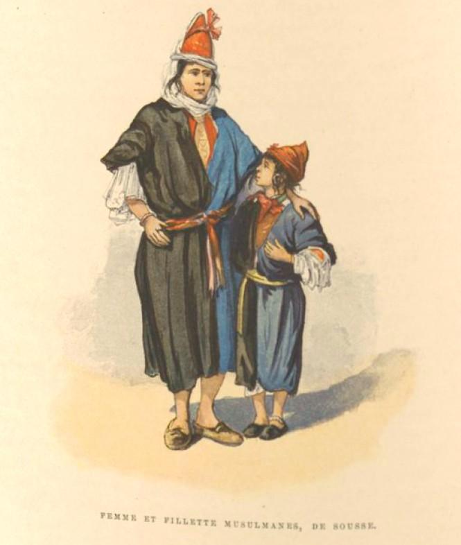 Femme et fillette musulmanes de Sousse - Charles Lallemand, La Tunisie, pays de protectorat français, 1892.